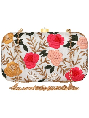 Anekaant Adorn Embroidered Faux Silk Clutch White & Multi