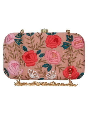 Anekaant Adorn Embroidered Velvet Clutch Peach & Multi