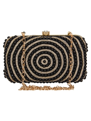Anekaant Adorn Embellished Faux Silk Clutch Black & Gold