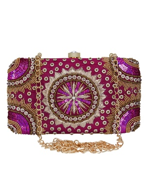Anekaant Adorn Sequines Embellished Faux Silk Clutch Magenta Pink & Gold