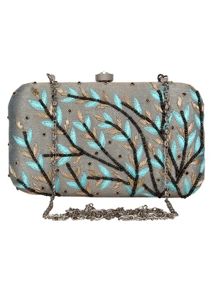 Anekaant Adorn Embroidered Faux Slik Clutch Grey & Blue