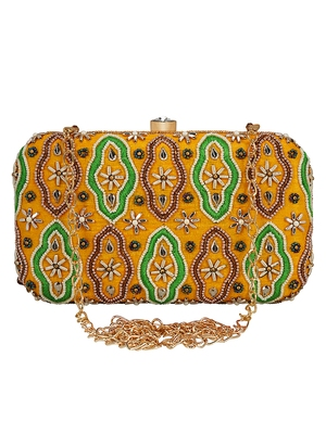 Anekaant Adorn Embroidered Faux Slik Clutch Yellow & Multi