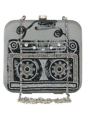 Anekaant Spiffy Sequines Embellished Faux Slik Box Clutch Grey & Black