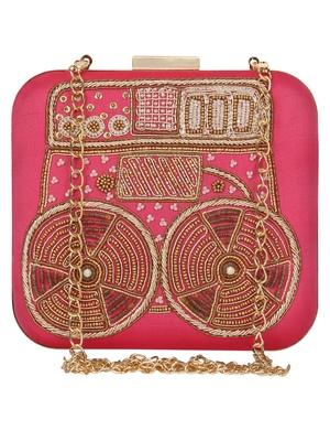 Anekaant Spiffy Embellished Faux Slik Clutch Fuschia Pink
