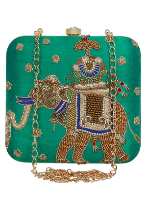 Anekaant Vista Embellished Faux Slik Clutch Rama Green & Gold
