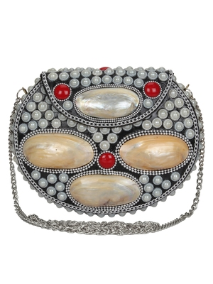 Anekaant Marvelous Mosaic Metal Shells Clutch Sliver