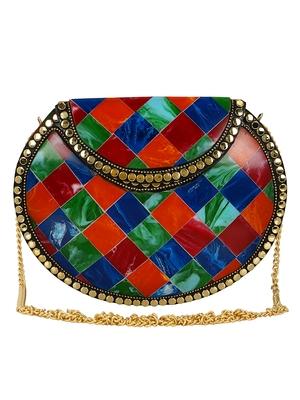 Anekaant Marvelous Mosaic Metal Marble Clutch Multi