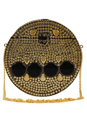 Anekaant Gala Mosaic Metal Clutch Gold & Black
