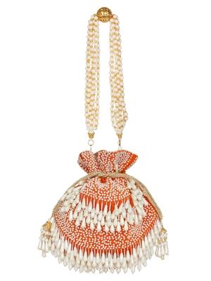 Anekaant Dangle Sequines Embellished Velvet Potli Orange & White
