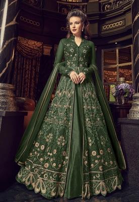 Dark-green embroidered net salwar