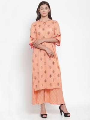Indibelle Peach printed cotton kurtas-and-kurtis