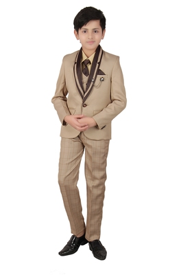 Fawn plain polyester boys-suit