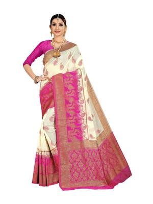 White woven banarasi silk saree with blouse