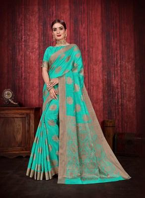 Aqua blue woven art silk saree with blouse