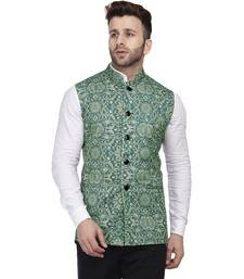 Green Printed Pure Cotton Knitted Stretch Nehru Jacket