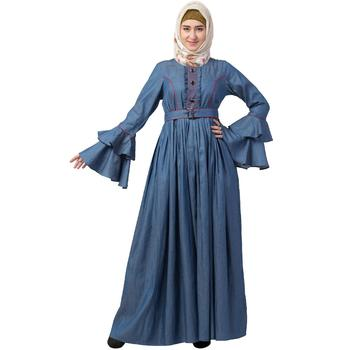 Designer Denim Abaya With Bell Sleeves
