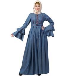 Designer Denim abaya with bell sleeves