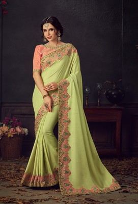 Multicolor embroidered poly silk saree with blouse