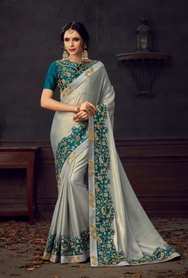 Silver embroidered poly silk saree with blouse
