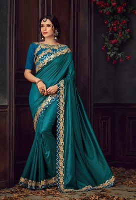Teal embroidered poly silk saree with blouse
