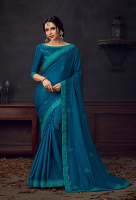 Blue embroidered poly silk saree with blouse