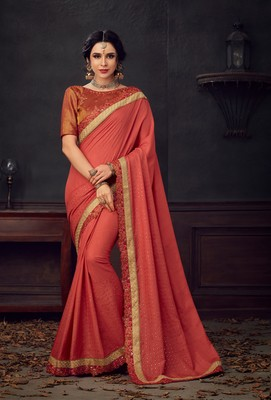 Maroon embroidered poly silk saree with blouse
