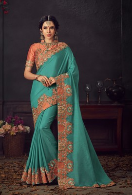Turquoise embroidered poly silk saree with blouse
