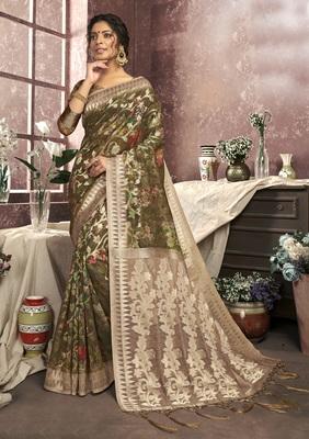 Mehendi woven cotton saree with blouse