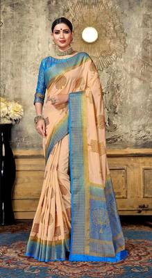 Cream woven art silk saree with blouse