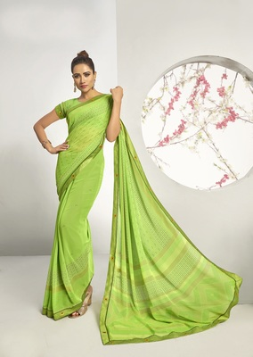 Light green woven georgette saree with blouse
