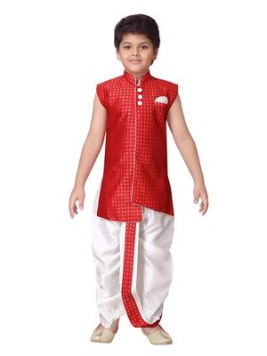 Red printed silk blend boys-dhoti-kurta
