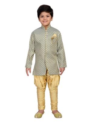 Grey printed brocade boys-sherwani