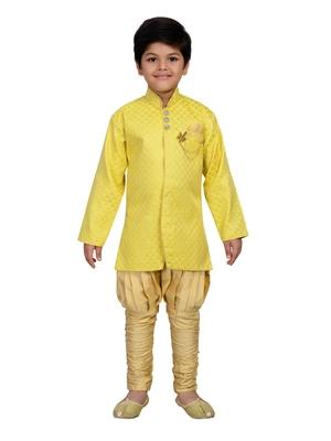 Yellow printed brocade boys-sherwani