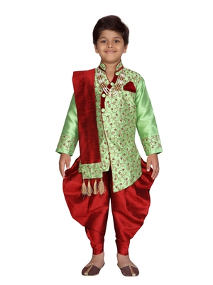 Green plain silk blend boys-indo-western-dress