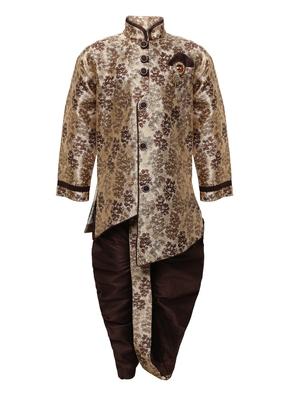Brown printed jacquard boys-indo-western-dress
