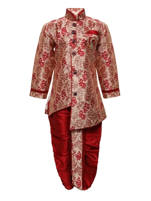 Maroon printed jacquard boys-indo-western-dress
