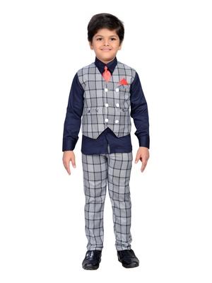 Blue printed blended cotton boys-suit