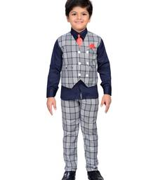Blue printed blended cotton boys-suit
