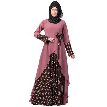 Polka Dotted Asymmetrical Dress Abaya- Puce Pink-Wine