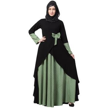 Polka Dotted Asymmetrical Dress Abaya- Green-Black