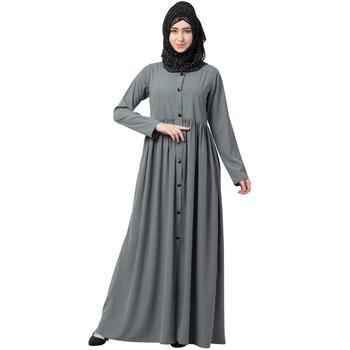 Front open abaya with pintucks- Grey