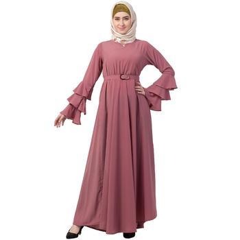 Umbrella abaya with bell sleeves- Puce Pink