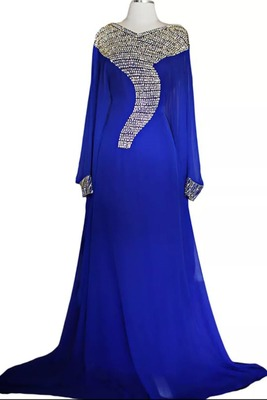 royal blue georgette moroccan islamic dubai kaftan farasha zari and stone work dress