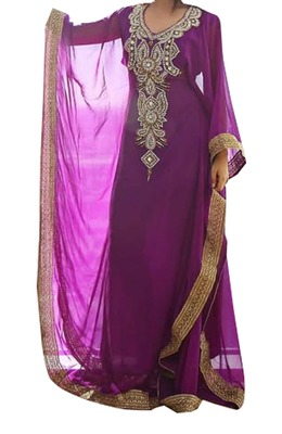 purple georgette moroccan islamic dubai kaftan farasha zari and stone work dress