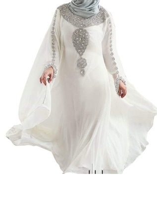 white georgette moroccan islamic dubai kaftan farasha zari and stone work dress