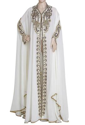 white weadding moroccan islamic dubai kaftan farasha zari and stone work dress