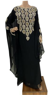 black moroccan islamic dubai kaftan farasha zari and stone work dress