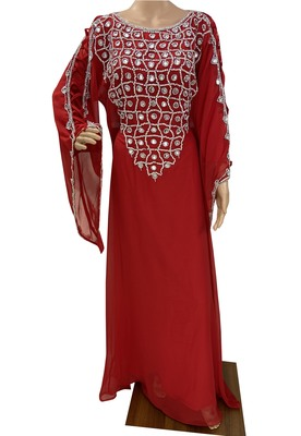red moroccan islamic dubai kaftan farasha zari and stone work dress