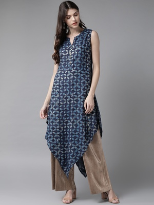 Navy-blue printed rayon ethnic-kurtis