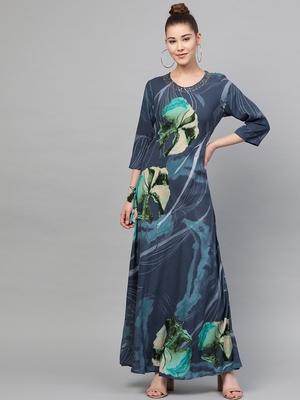 Navy-blue printed liva long-kurtis